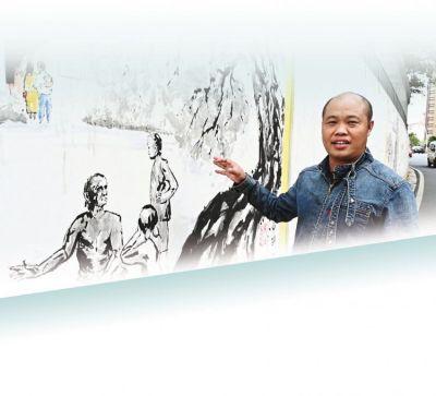 """近百米手绘墙 展示""""中山八景"""""""